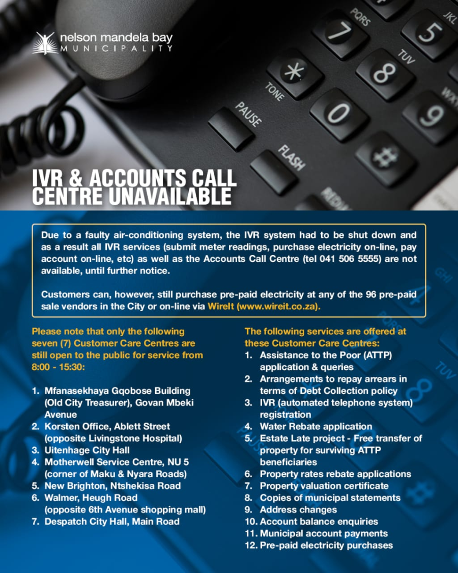 IVR and Accounts Services offline